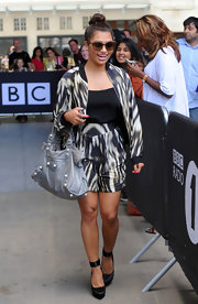 Vanessa's printed zip-up jacket and matching shorts were a bold but tasteful look for The Saturdays' star.