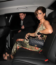 Sarah Harding was spotted at Mahiki nightclub with a luxe black quilted flap bag with gold hardware.