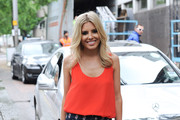 Mollie King leaves the ITV studios in London on June 28, 2013.