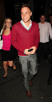 Olly Murs stepped out at a party wearing a pair of leather slip ons.
