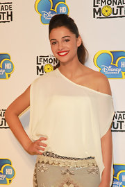 Naomi Scott channeled the '80s wearing a draped off-shoulder top at the premiere of 'Lemonade Mouth.'