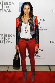 Padma Lakshmi's leather jacket had a cool bohemian look with this patchwork-style jacket.