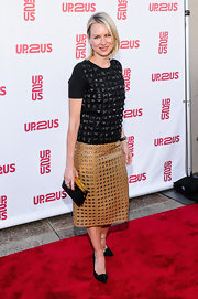 Naomi Watts brought out the hardware with a black embellished top, which she paired with a leather skirt.