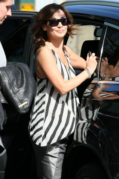 Natalie Imbruglia looked effortlessly chic in a black-and-white striped tank top while out and about in Sydney.