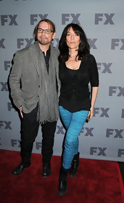 Katey Sagal's black motorcycle boots were an edgy finish to her black cardigan and turquoise skinnies combo at the 2012 FX Ad Sales Upfront.