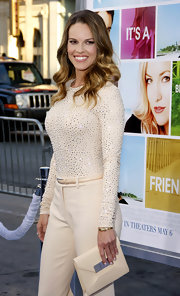 Hilary wore a sparkling cream jersey bodysuit for a sophisticated style at the 'Something Borrowed' premiere.