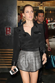 Kristin got bold in a black blouse with strong shoulders while out in NYC.