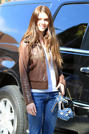 Nicola Peltz was dressed for comfort in a tee, jeans, and brown leather jacket as she got a manicure in Beverly Hills.