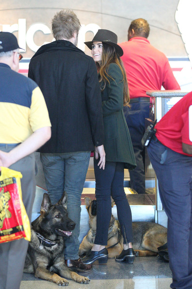 Nikki Reed and Dog at the Airport