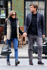 Johannes Huebl opted for a cool navy blazer to dress up his daytime look while out in NYC.