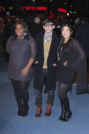 "Jenna Ushkowiz hit the premiere of ""Tron: Legacy"" in a pair of black knee high Christian Louboutin boots."