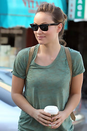 Olivia Wilde wore her hair in a causal loose bun while out in Los Angeles.