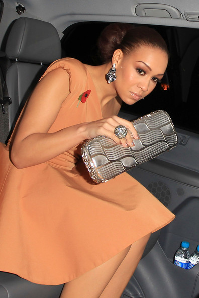 Rebecca Ferguson added major shimmer to her look with a textured metallic silver clutch when she attended the 'Harry Potter and the Deathly Hallows' premiere.