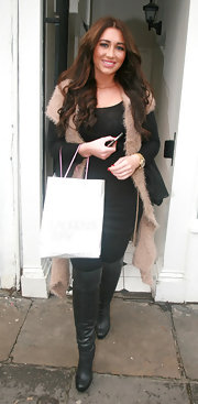 Lauren was out and about town in black leather boots.