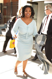 Oprah Winfrey looked retro-chic in a ruched pastel-blue dress during a visit to the CBS Studios.
