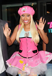 Nicki Minaj's bow-adorned pink beret was the perfect addition to this crazy outfit.