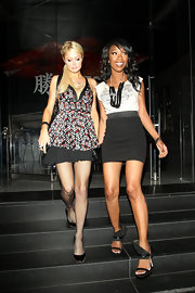 Brandy wore heavy treaded, cuffed sandals which added an edgy touch to her evening look.