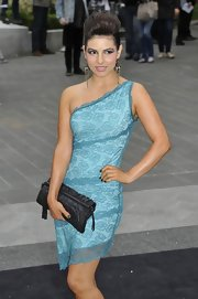 Roxanne Pallett was sweet and sexy at the same time in an aqua lace one-shoulder dress.