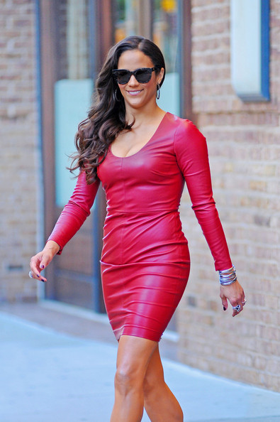 Paula Patton Leather Dress