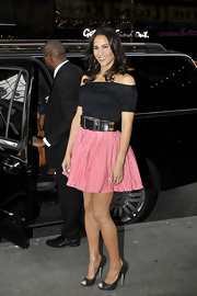 Paula Patton belted her sweet look with a wide leather belt.