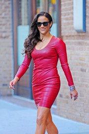 Paula Patton wowed in a red-hot leather dress as she left her New York City hotel.