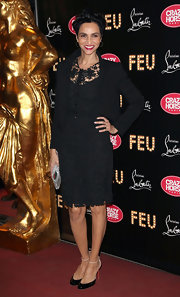 Farida Khelfa wore this lace LBD to the 'Feu' premiere in Paris.