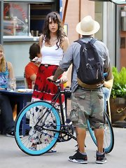 Paz de la Huerta looked casual yet sexy on the streets of NYC in a white tank top and a colorful skirt.
