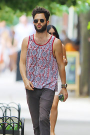 Penn Badgley showed off his inner hipster in a print tank top while strolling the streets of NYC.