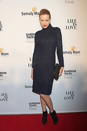 Petra vamped it up in this brocade turtle-neck dress at the Somaly Mam Foundation Gala in NYC.