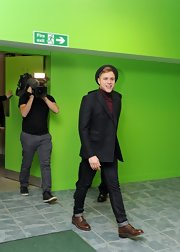 Olly Murs teamed up his outfit with a pair of steel-toe boots.