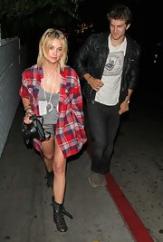 Keegan Allen wore a cool leather jacket while out joking around with 'PLL' co-star Ashley Benson.
