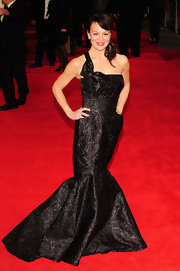 Helen McCroy shined on the red carpet of the 'Hugo' premiere in a black brocade gown.