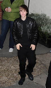 Justin Beiber took his all-black look to the next level with a cool leather coat.