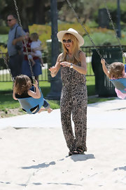 Rachel Zoe showed off her signature boho style with this printed jumpsuit, which she wore while playing with her son in the park.