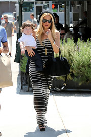 Rachel Zoe paired black platform sandals with her striped maxi-dress while out with her son in Hollywood.