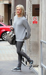 Fearne Cotton kept her look casual in an oversized sweater and checkered canvas kicks.