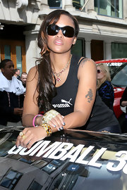 Eve's butterfly sunnies were a chic finish to her sporty attire at the Gumball 3000 Rally.