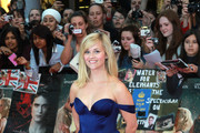 Reese Witherspoon looking dazzling in a blue satin dress at the UK premiere of 'Water for Elephants' in London.
