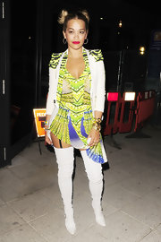 Rita Ora glowed in this fluorescent yellow and green tribal-print mini.