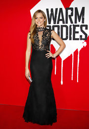 Teresa looked dramatically sexy in this black gown with a sheer bodice at the 'Warm Bodies' premiere in LA.