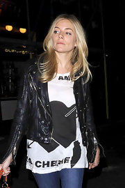 Sienna wears a graphic tee with dramatic hearts for her rocker chic ensemble at Box Nightclub.