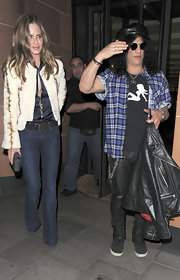 Trinny Woodall was casual yet chic in blue jeans and a cropped jacket at the C Restaurant.