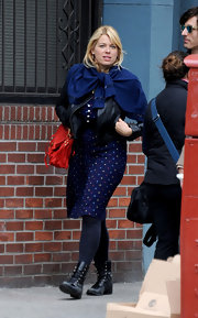 Amanda de Cadenet opted for a pair of comfy lace-up boots while out in NYC.