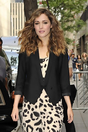 Rose Bryne showed off a cute tuxedo style blazer which she paired with a print dress.