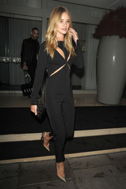 Rosie Huntington-Whiteley looked super sultry at the Elle Magazine party in a black cutout jumpsuit by Stella McCartney.