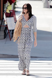 Courtney took a fashion risk in a printed cutout jumpsuit.
