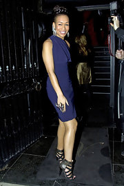 Rebecca dons a deep blue cocktail dress for the 'X Factor' wrap party.