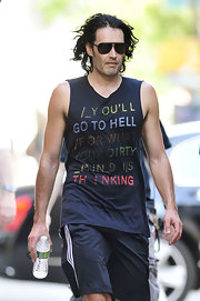 Russell Brand showed off his black aviator shades while on the set of his new movie.