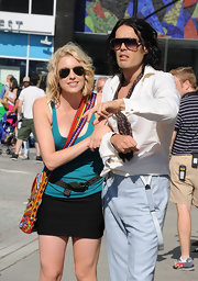 Greta Gerwig topped off her cool, sexy ensemble with a pair of aviators while filming 'Arthur.'