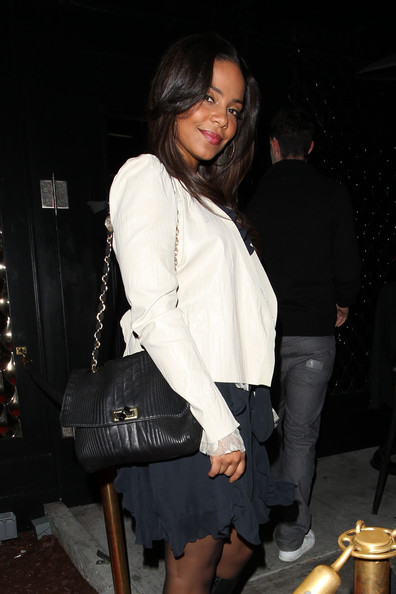 Sanaa Lathan Leather Shoulder Bag